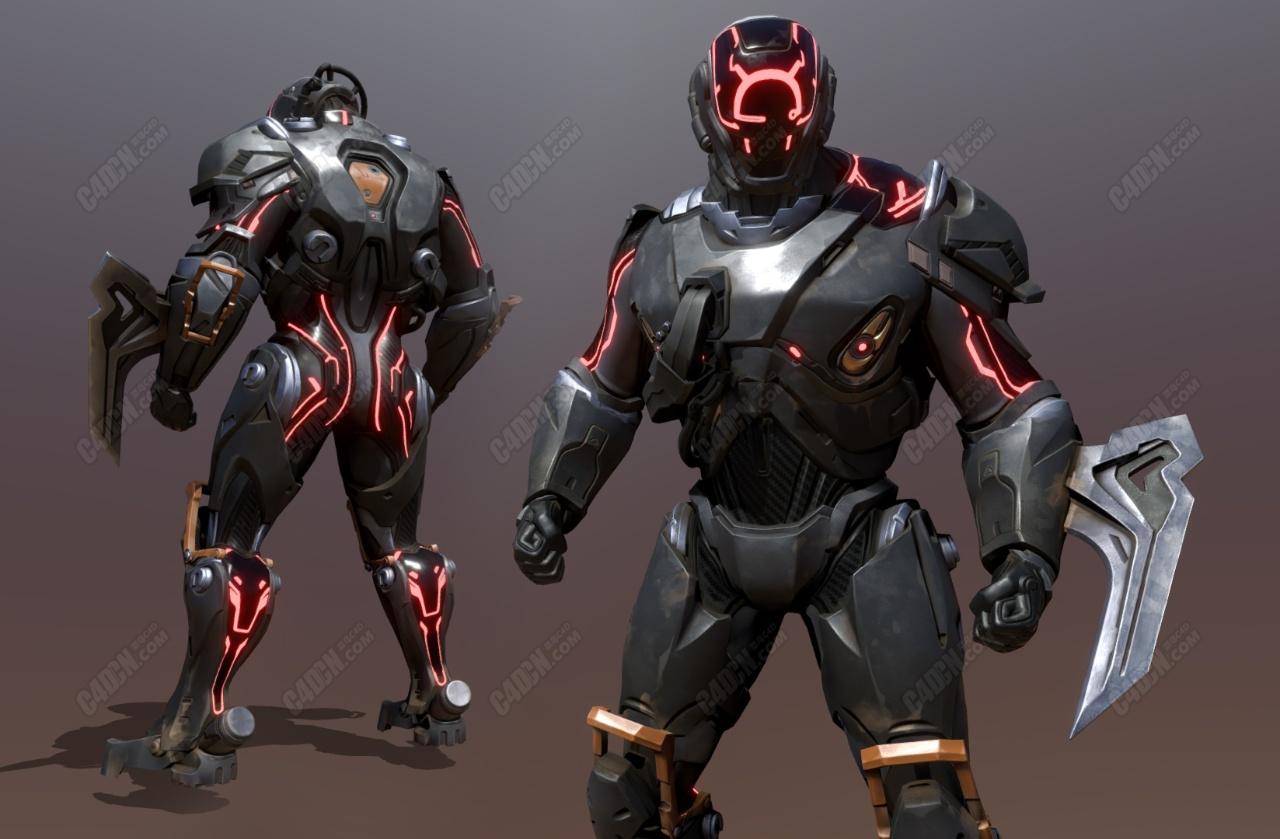 C4D穿盔甲的镰刀科学家科幻未来战士人物模型