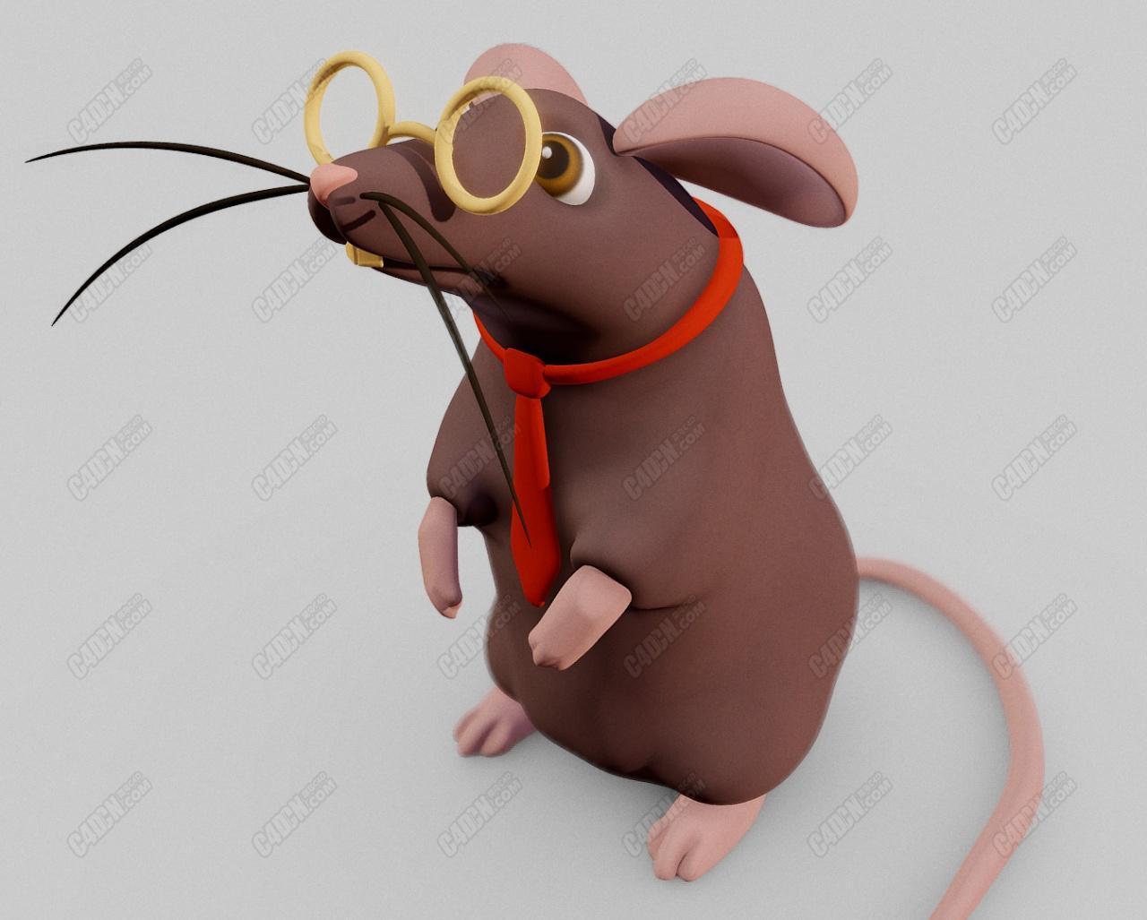 C4D戴眼镜打领带的卡通老鼠学者动物模型