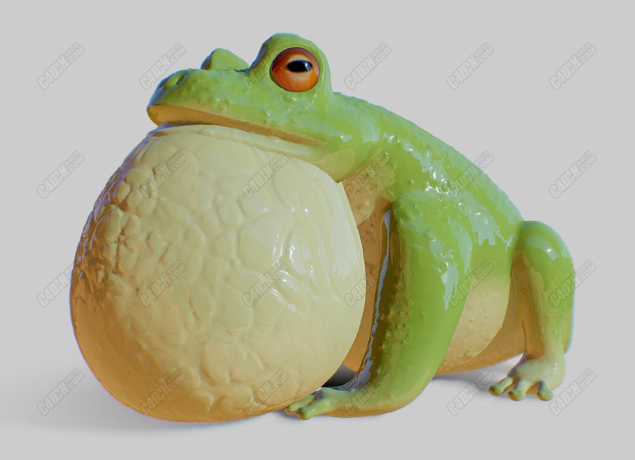 C4D鼓气大嘴巴可爱青蛙3D扫描模型不含材质