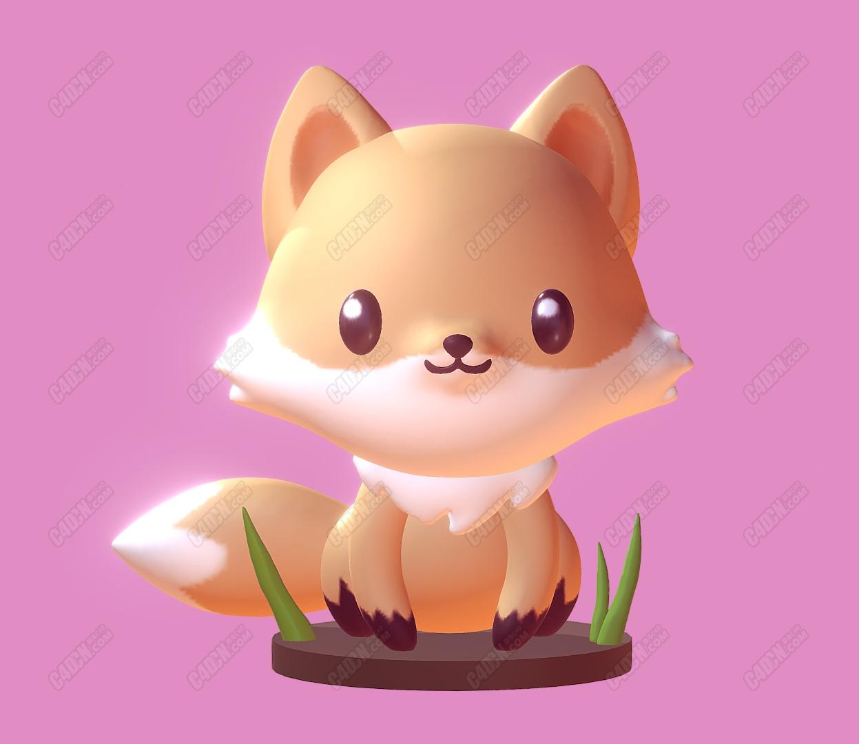 C4D卡通可爱小狐狸盘腿而坐动物模型(白模不含材质)fox
