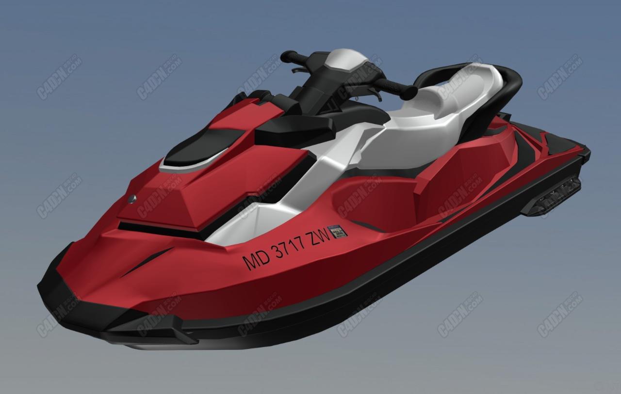 C4D红色水上摩托艇海上交通工具模型