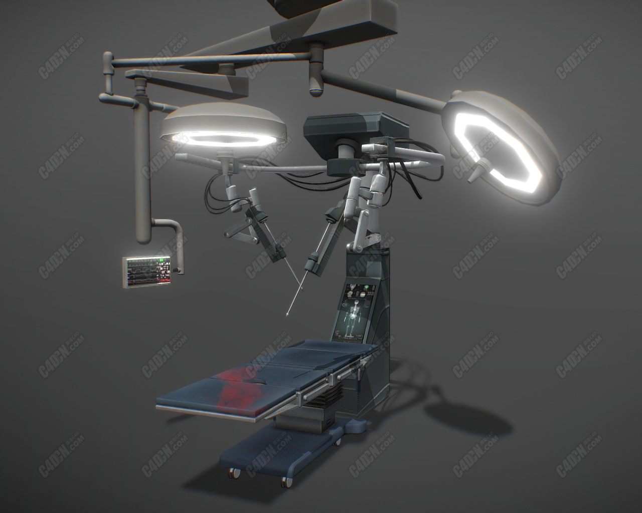 C4D精密仪器医院手术台医疗器械模型