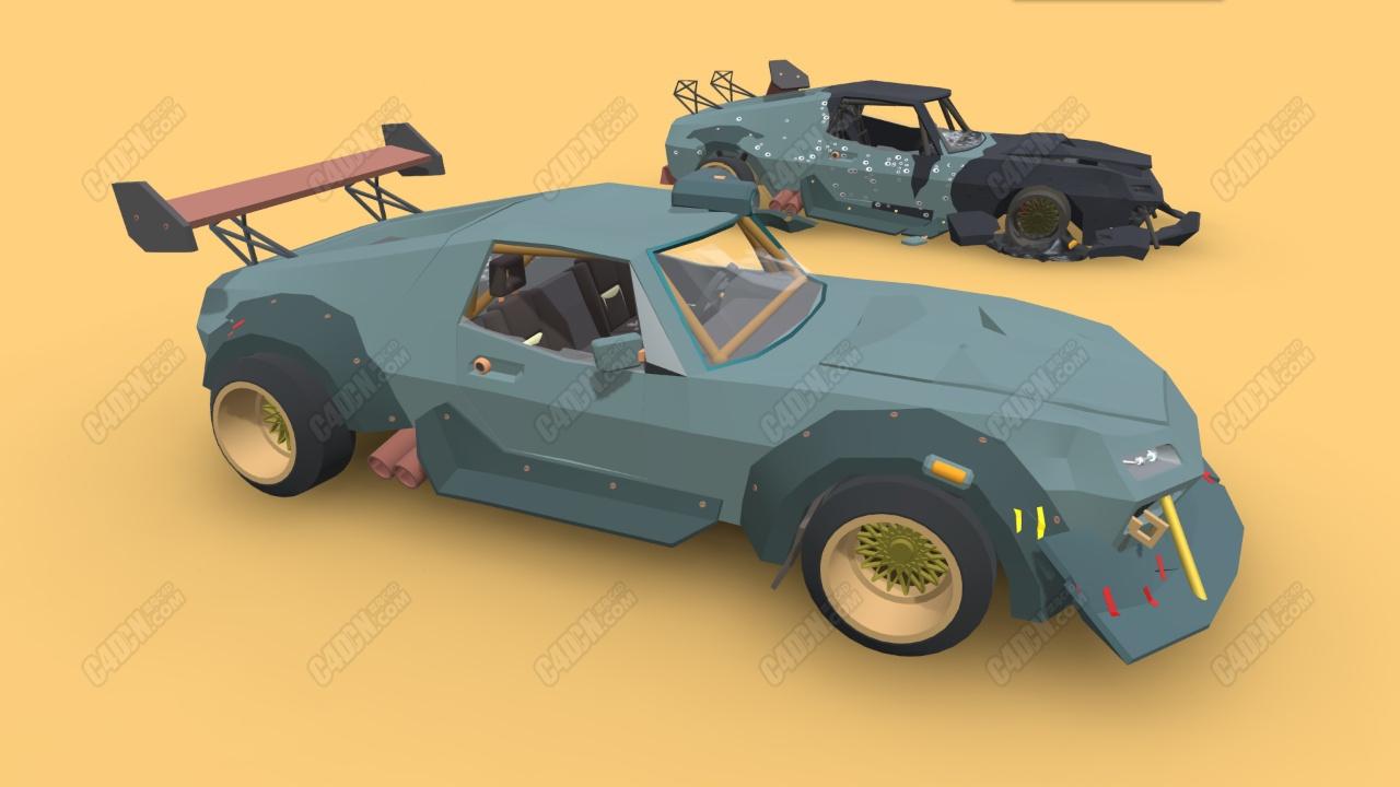C4D低面模卡通汽車大尾翼賽車模型