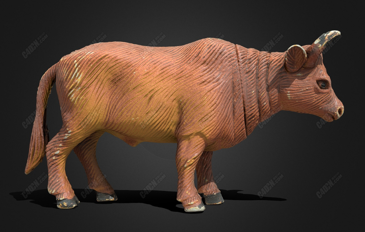 C4D塑料玩具公牛动物雕塑模型