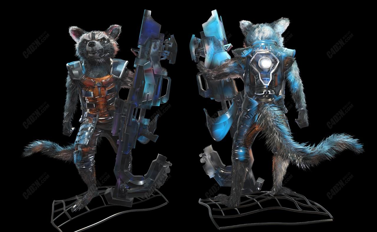 C4D火箭浣熊动物超级英雄模型