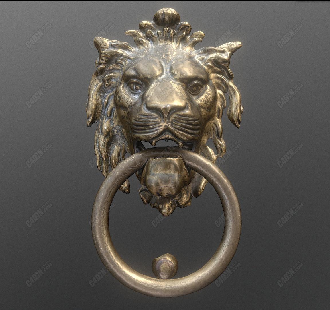 C4D复古大门狮子门环模型