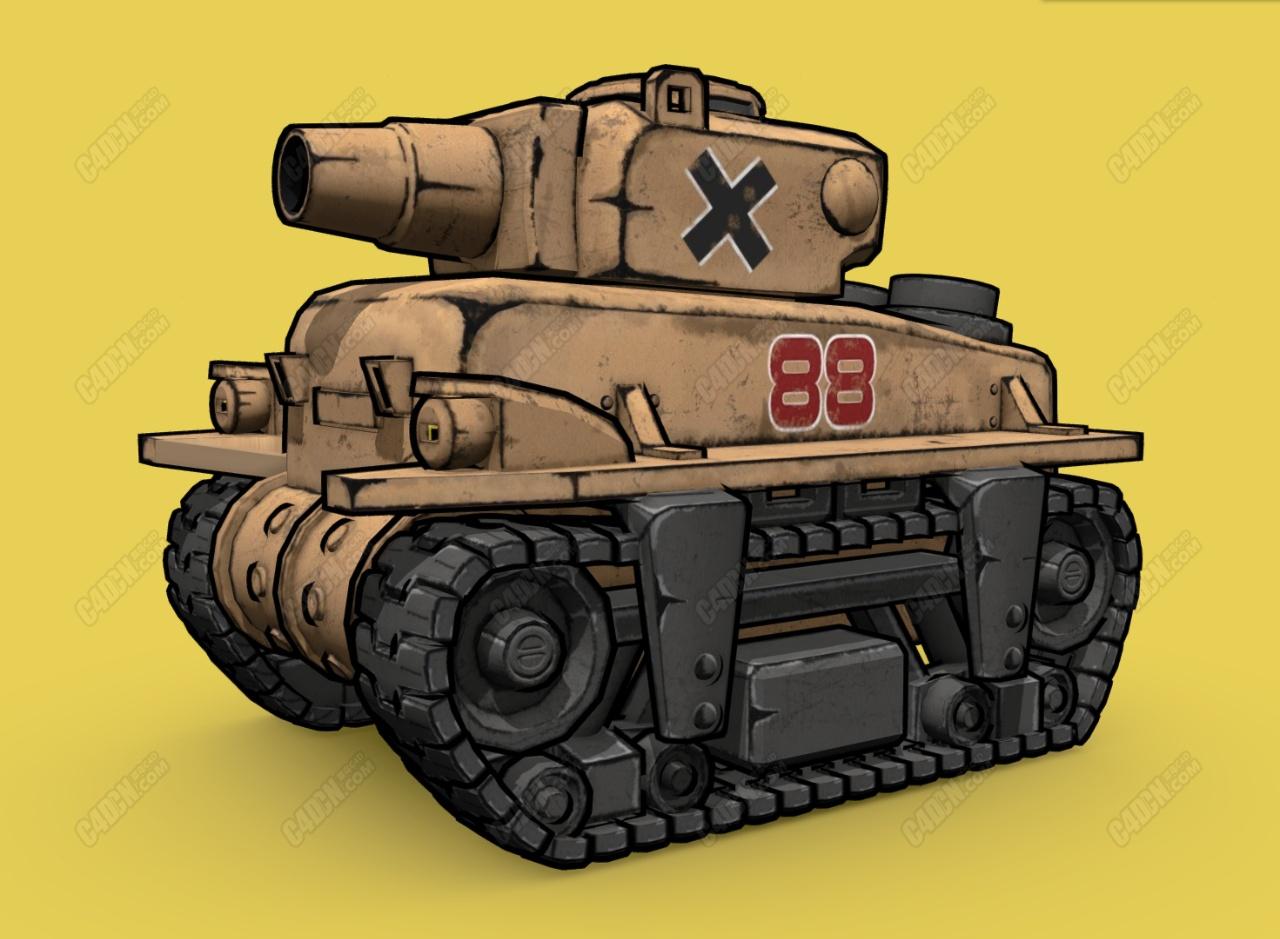 C4D仿合金弹头反叛坦克漫画风格游戏模型