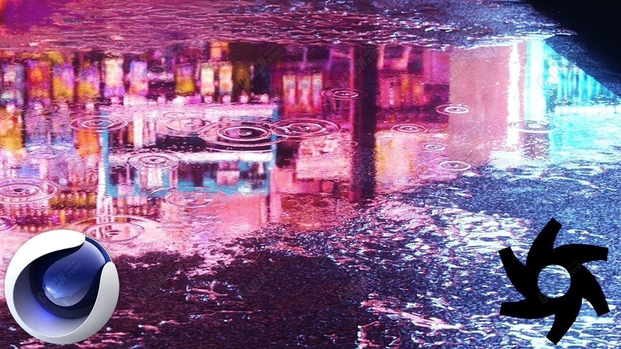 C4D+Octane渲染器制作逼真的下雨天水坑波浪涟漪动画教程