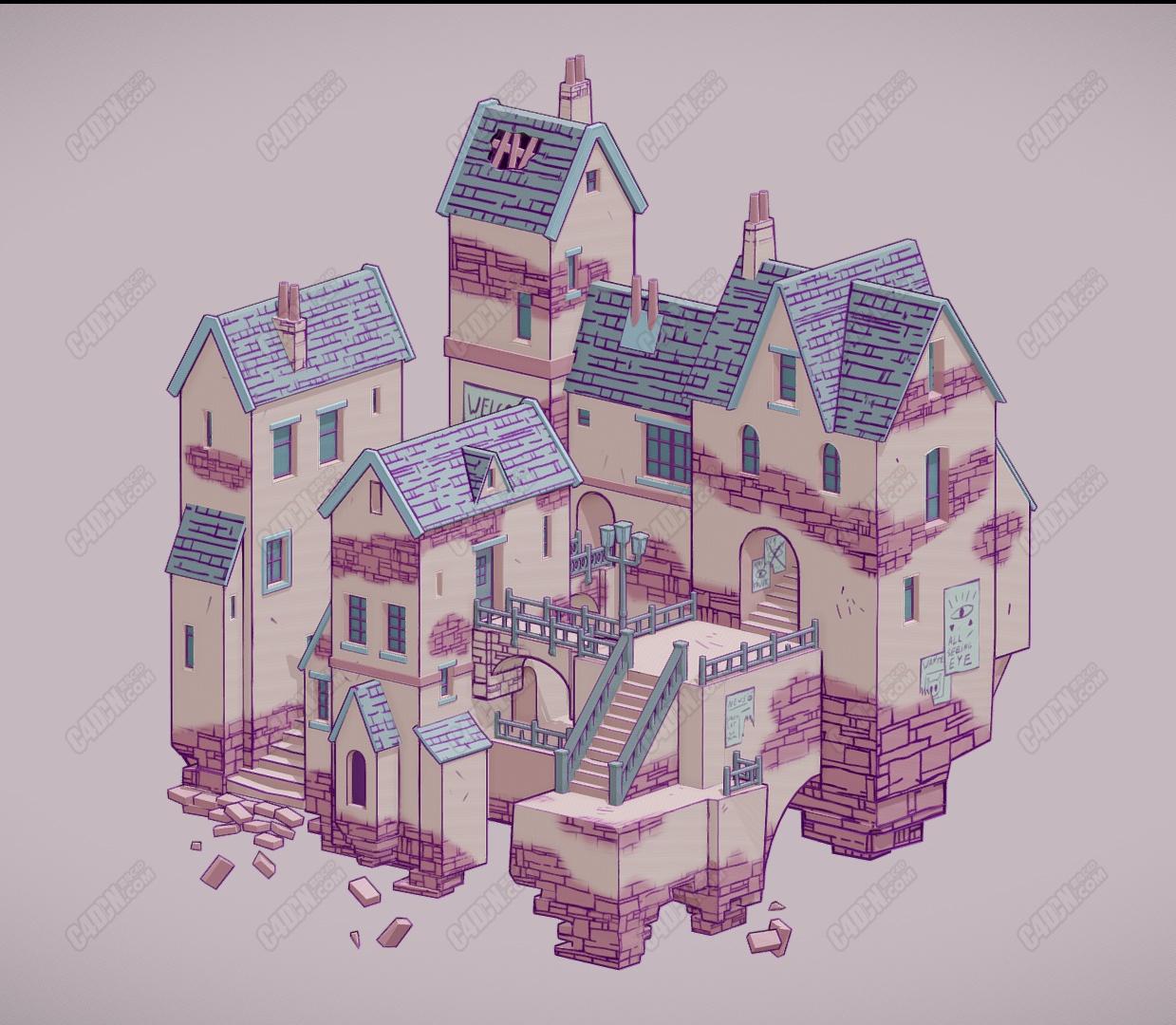 C4D幻想城红房子卡通建筑模型