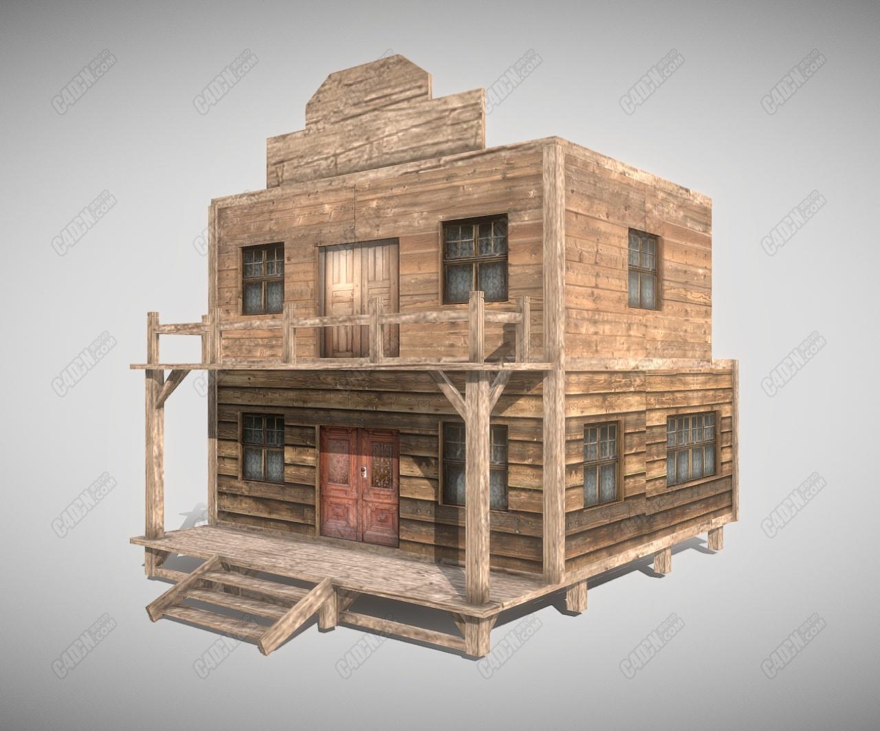 C4D沙漠旅店木板房建筑模型 Western House