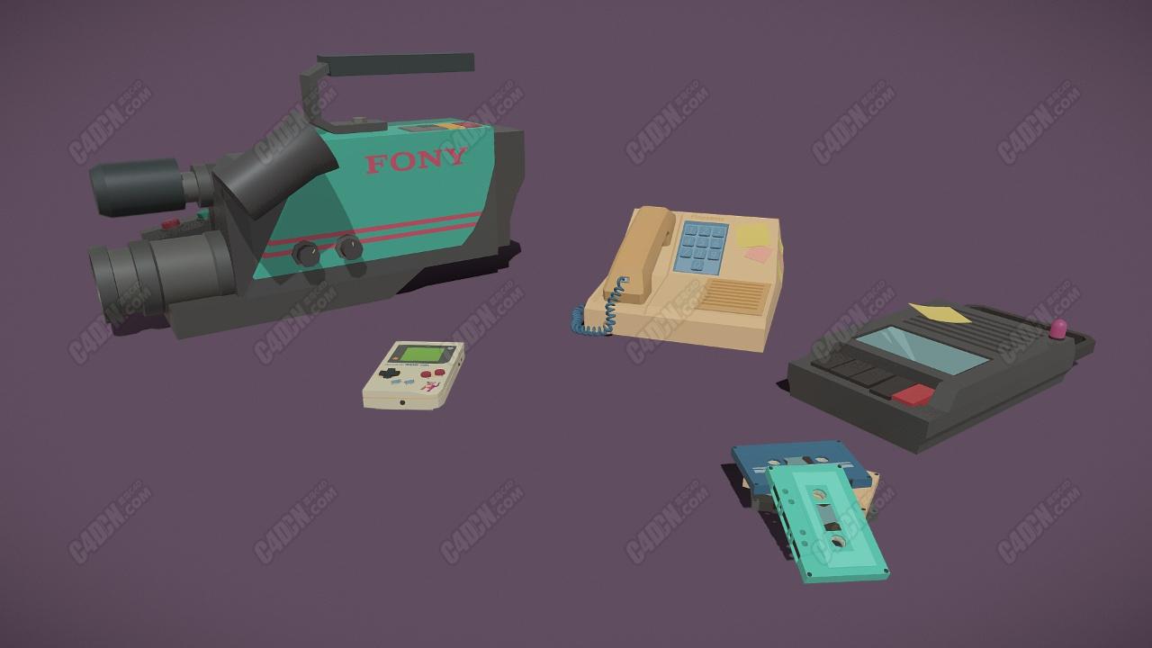 low poly90年代摄像机磁带游戏机电话座机模型
