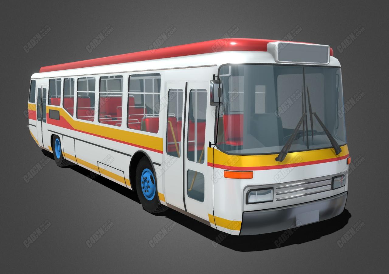 C4D通用城市客车大巴车模型