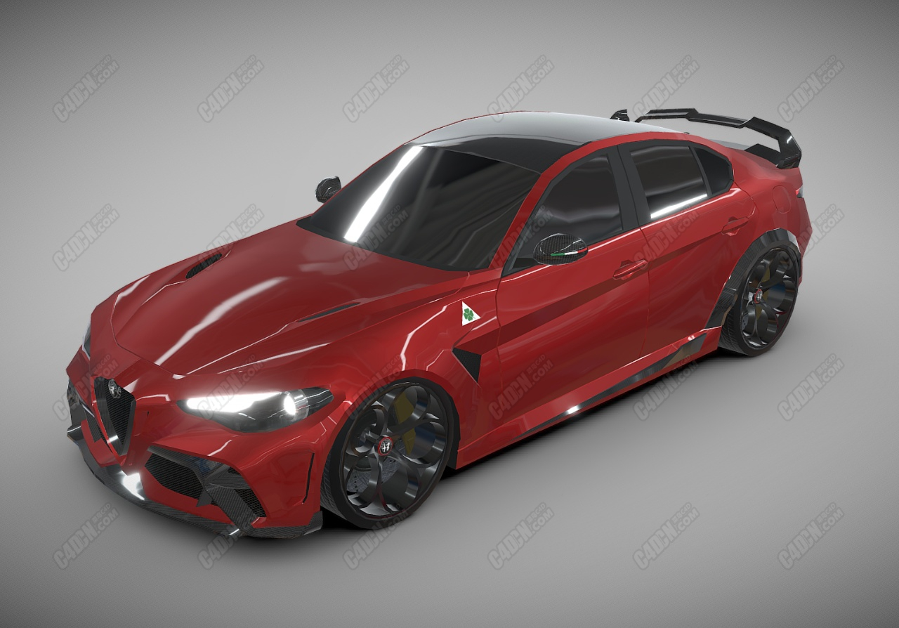 C4D汽车模型-阿尔法·罗密欧(Alfa Romeo Giulia)GTAm
