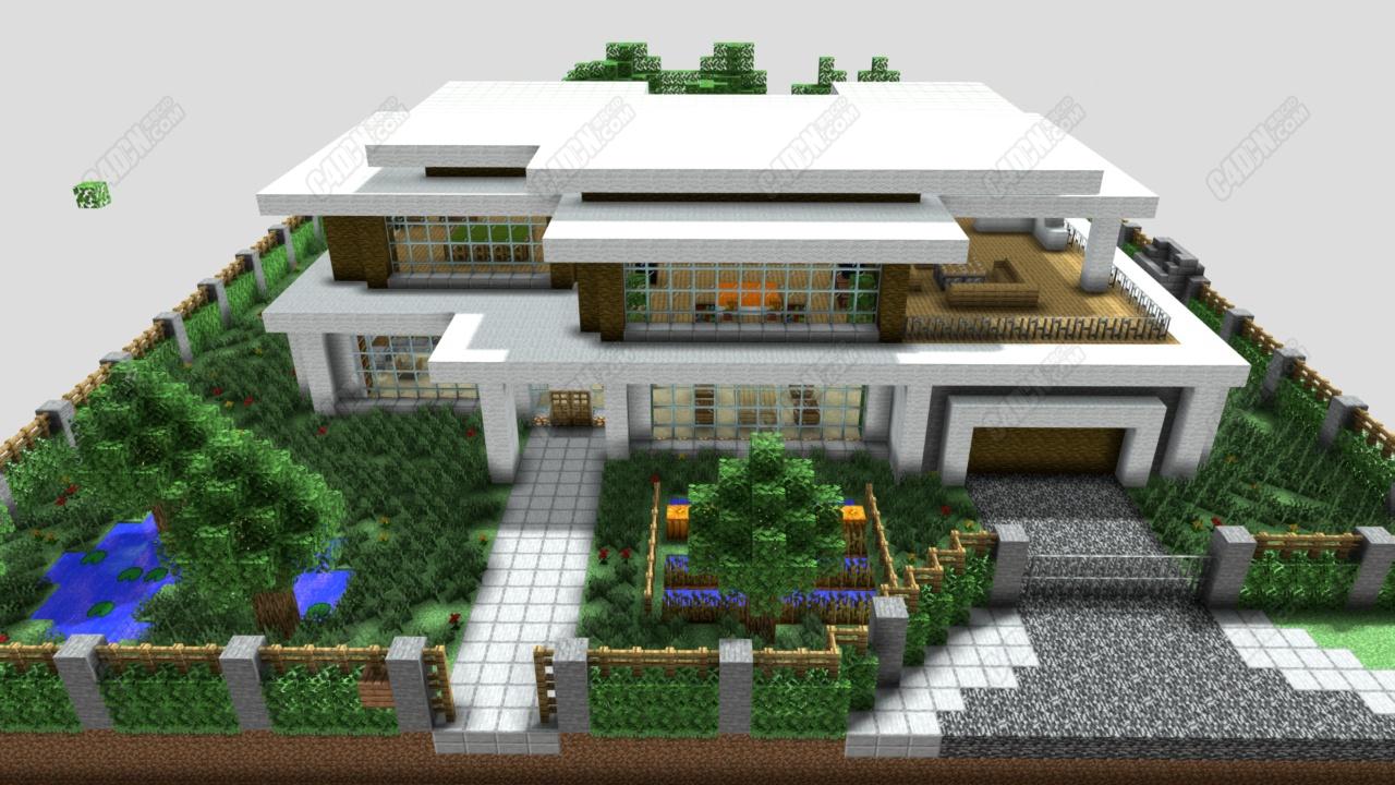 C4D我的世界现代房子办公楼建筑模型