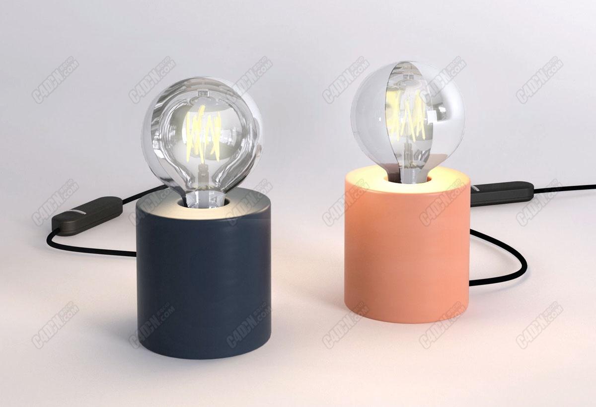 C4D简约灯泡照明模型 Candle Table Lamp