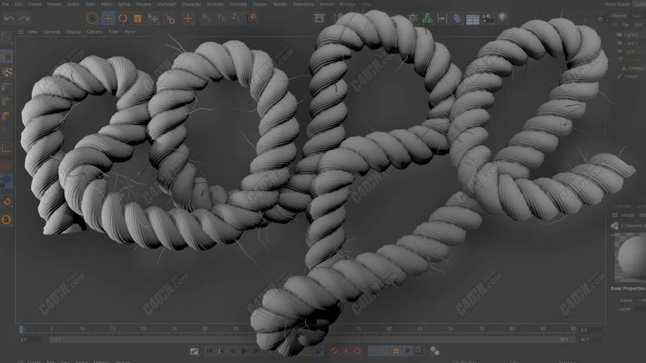 C4D教程 对绳子模型添加毛发显得更加真实[中文字幕]