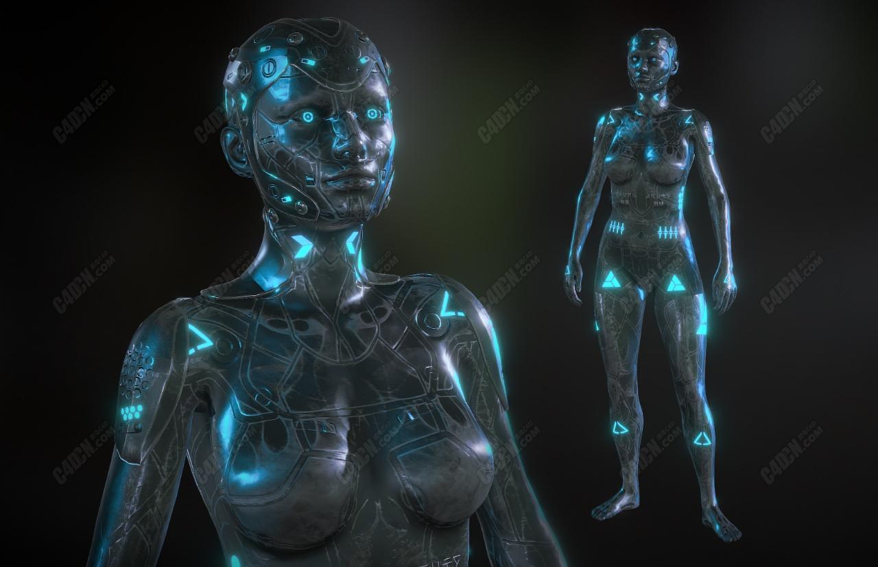 C4D科幻網絡機器女性人物模型(包含骨骼綁定和動畫)