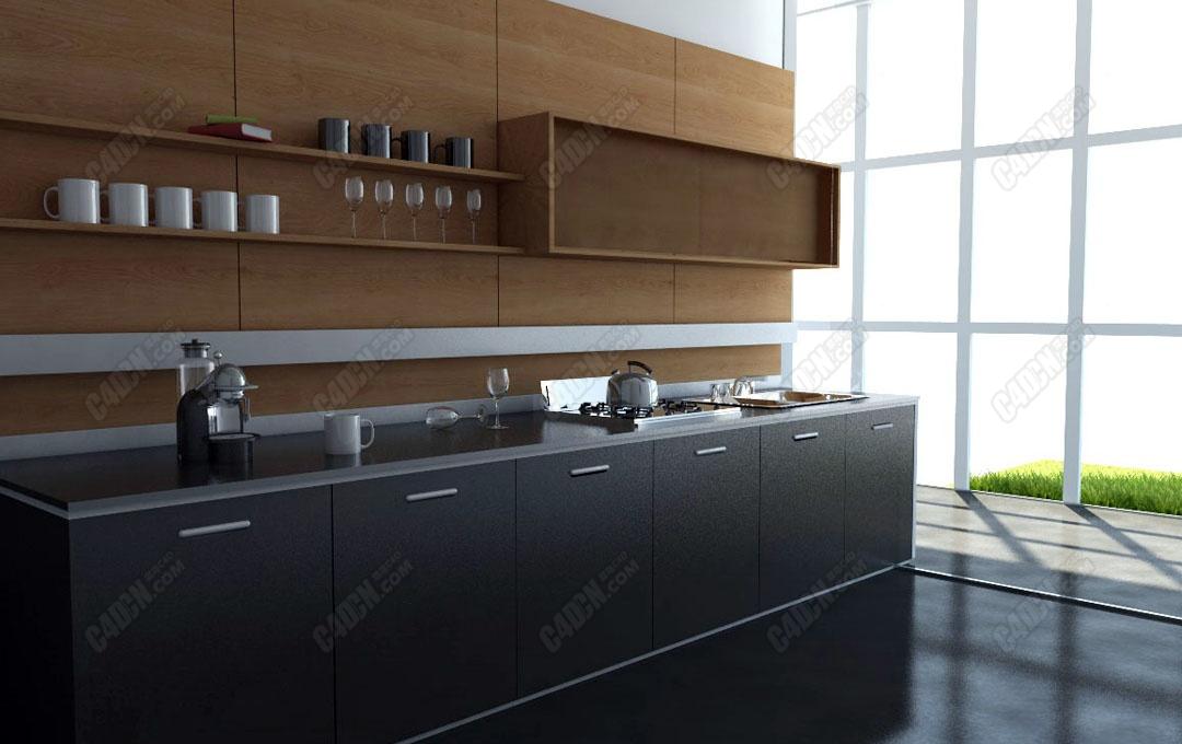 C4D高品質的廚房模型