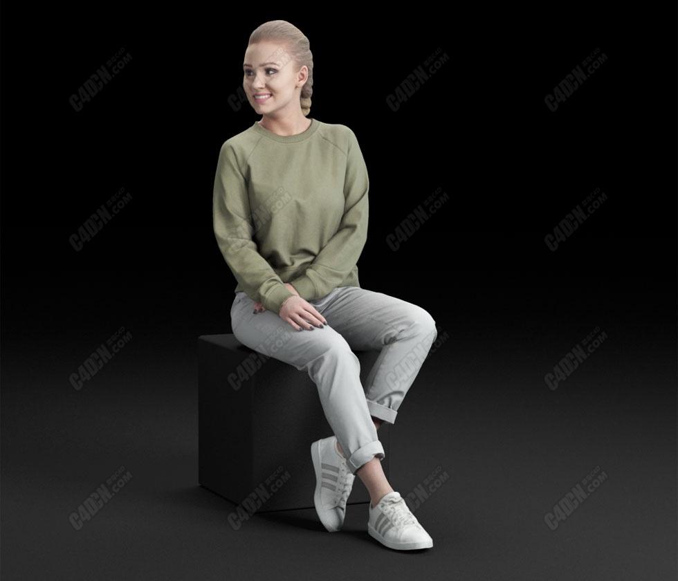 C4D休闲年轻女人模型 Casual Woman People