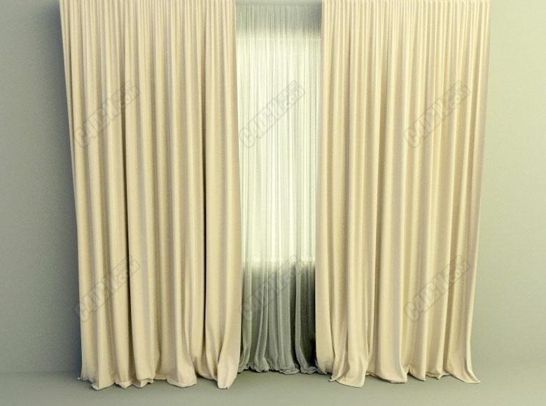 C4D高細節的簡單雙層薄紗私密窗簾與水滴模型下載