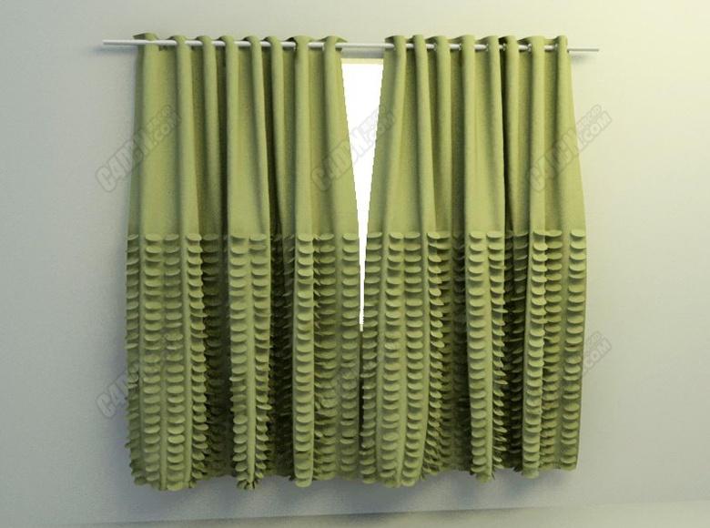 C4D室內臥室雙開窗簾模型
