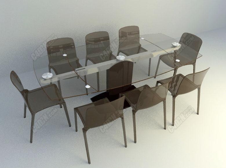 C4D玻璃面餐桌椅家具模型