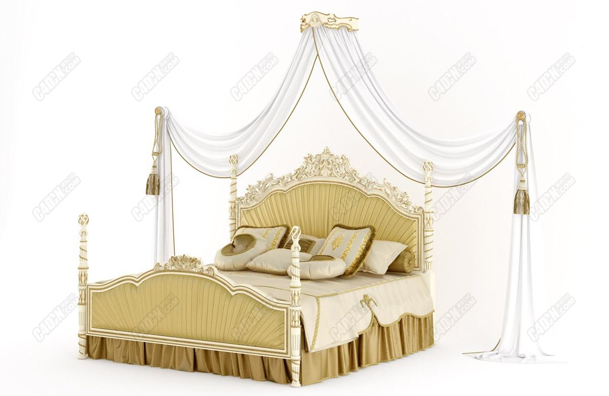 高品質金色特大號豪華歐式雙人床家具模型