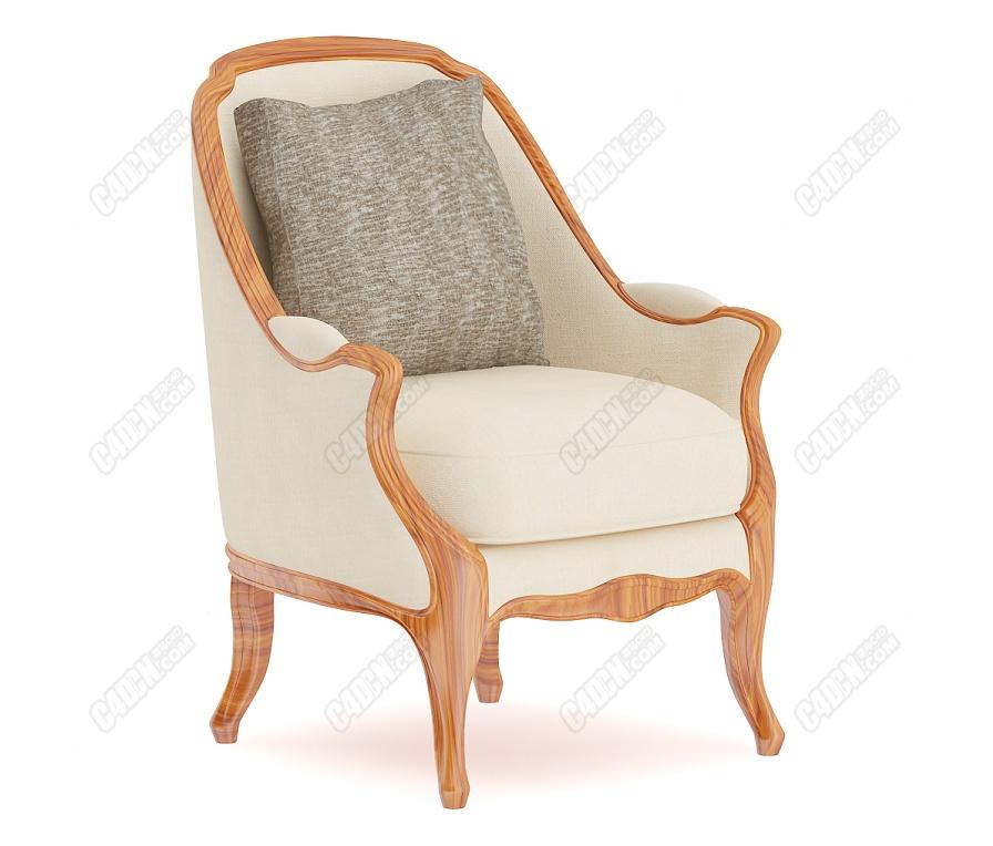 C4D帶枕頭的古典扶手椅實木老家具模型