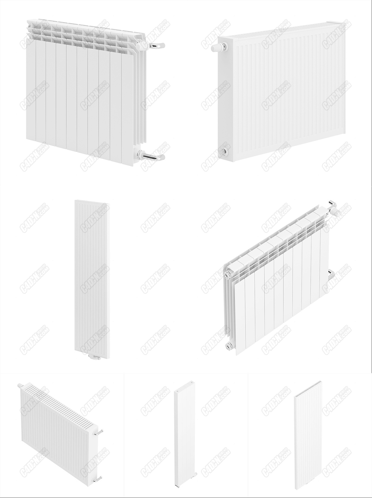 C4D四套浴室臥室暖氣片取暖設備模型
