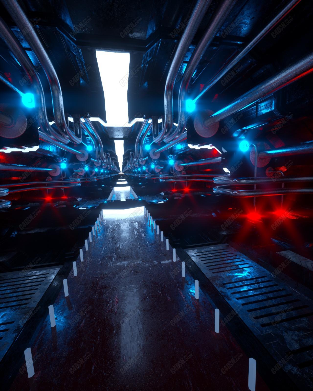 C4D+Octane渲染器神秘發光的科幻走廊通道工程動畫模型