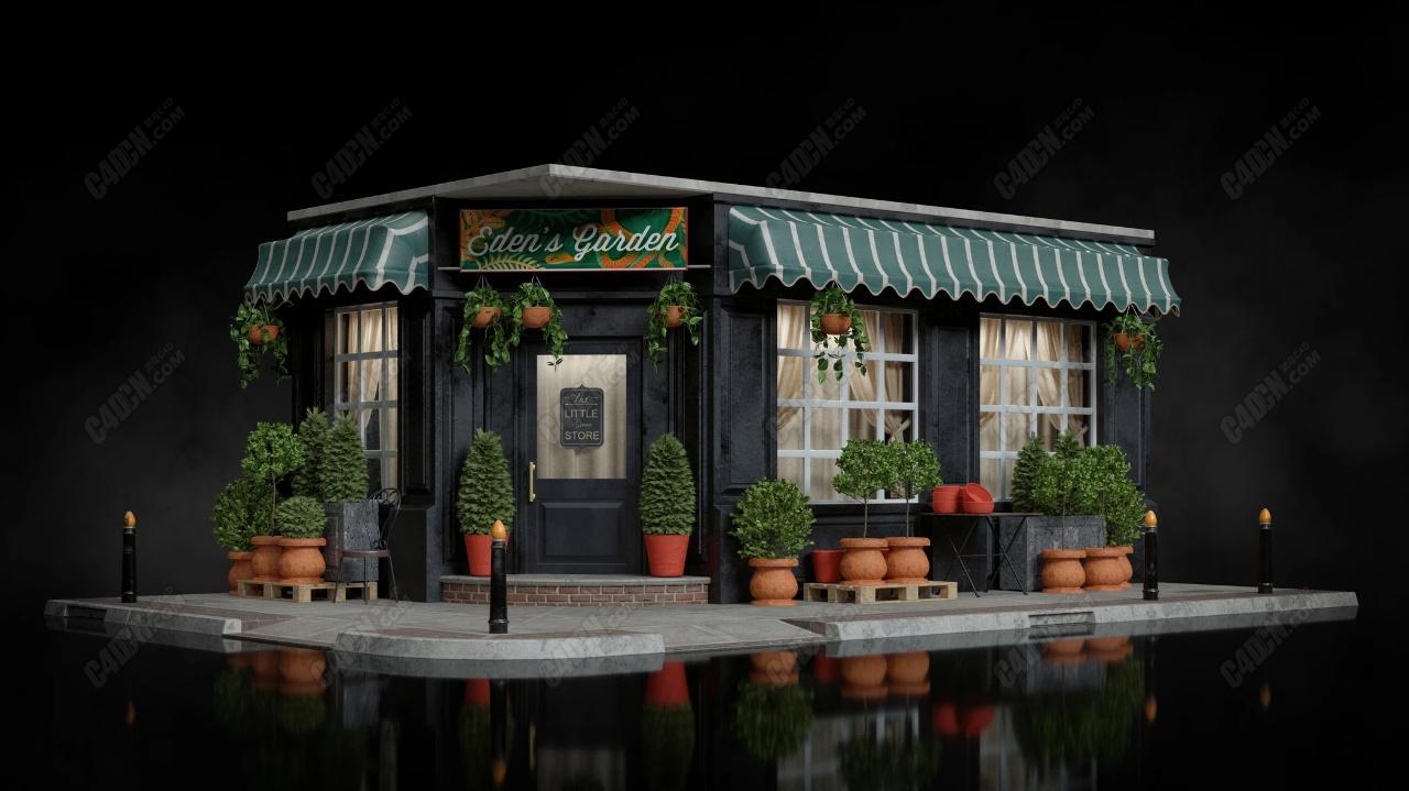 C4D夜市小吃門市商店建筑模型庫素材下載