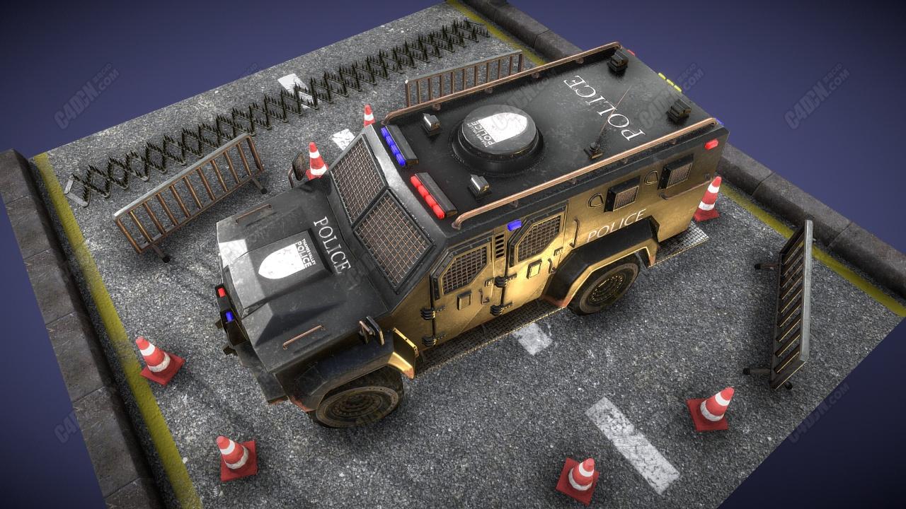 C4D装甲警车特种车辆模型下载 Armored police car  special vehicle