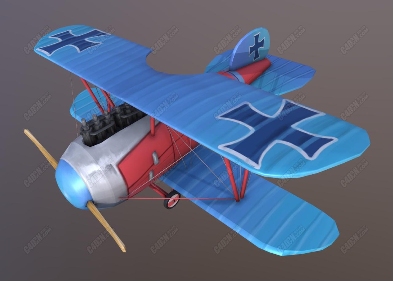 C4D信天翁卡通雙翼飛機模型下載 Albatros D.III Stylised Plane