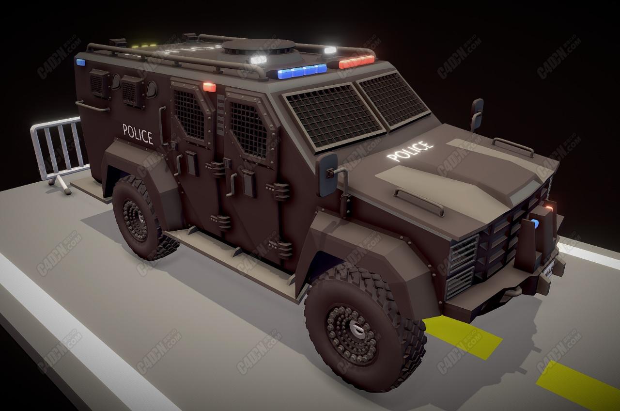C4D警用装甲车模型下载 Police car Armored car