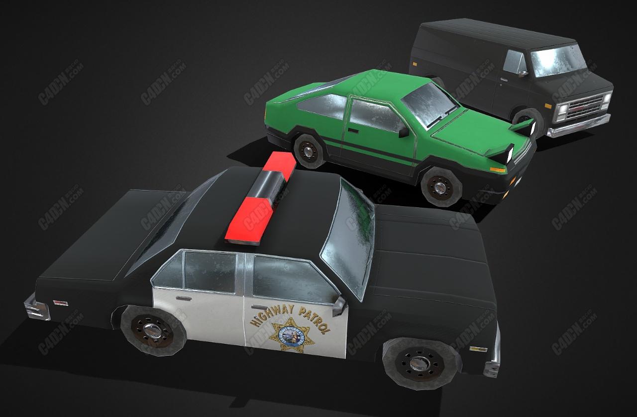 C4D Low Poly警车货车模型下载