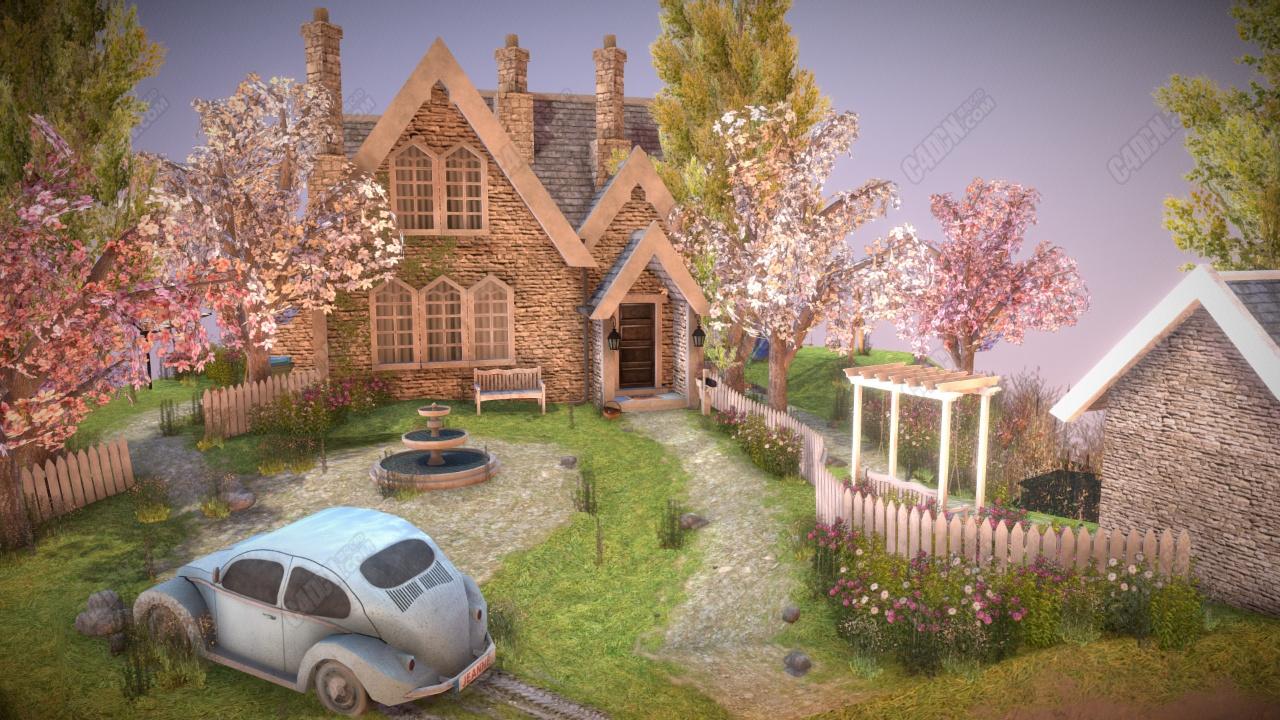 C4D秘密花园洋房建筑模型下载