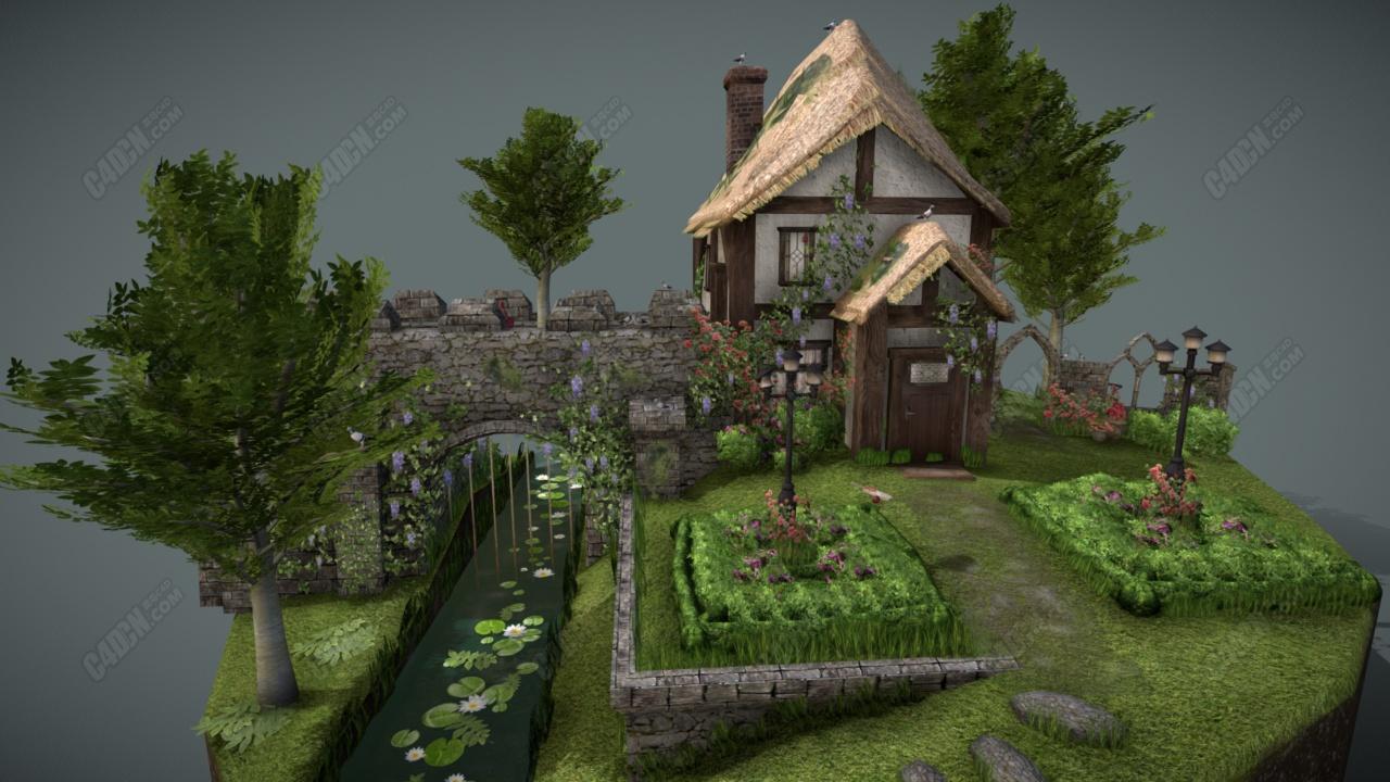 C4D奶奶的城堡花园模型下载 Grandma's Castle Garden