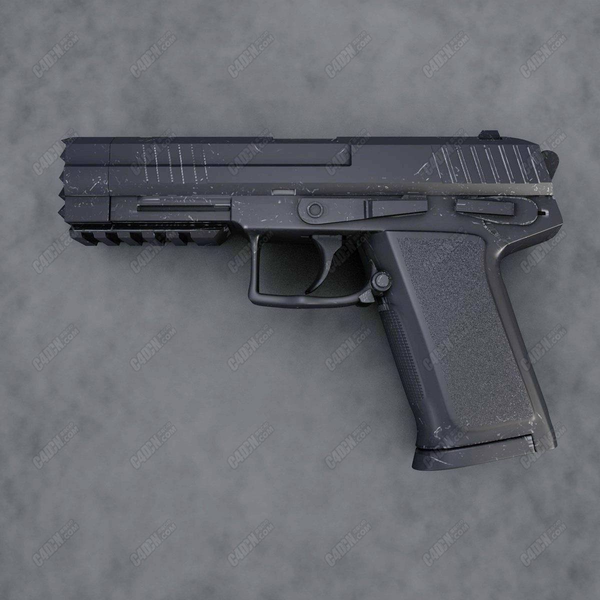 免费C4D半自动手枪武器模型下载