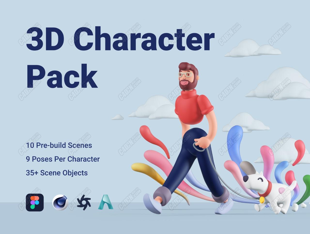 超大合集-C4D卡通人物多动作含绑定角色模型
