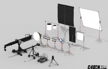 C4D灯光预设 电影道具 摄影棚灯光预设