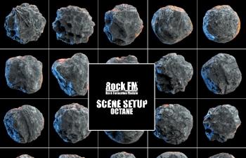 C4D灯光预设 Octane渲染器石头渲染场景