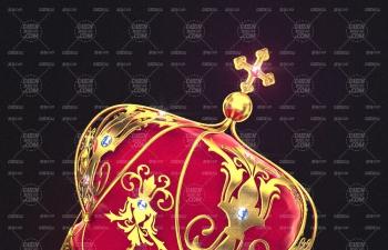 C4D模型 黃金王冠皇冠金屬材質模型