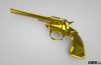 C4D黄金左轮手枪模型