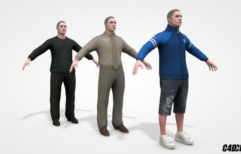 C4D模型 白人男子 3组合 含绑定