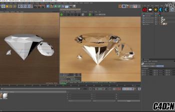 C4D教程 OCTANE渲染器钻石材质渲染教程
