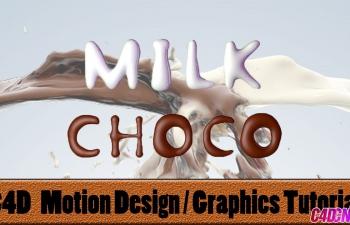 C4D巧克力牛奶材质文字C4D教程