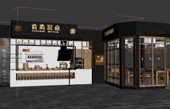 C4D工装模型 商场包子早点店铺效果图工程