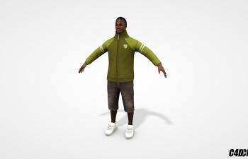 C4D模型  穿运动装 运动鞋的黑人男子 含绑定