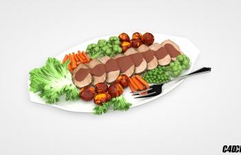 C4D模型 一盘牛肉蔬菜沙拉拼盘食品模型