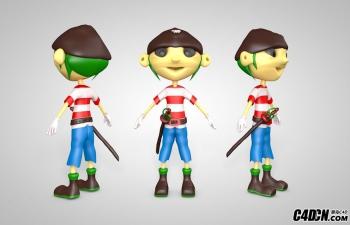 C4D佩剑的卡通小男孩角色模型